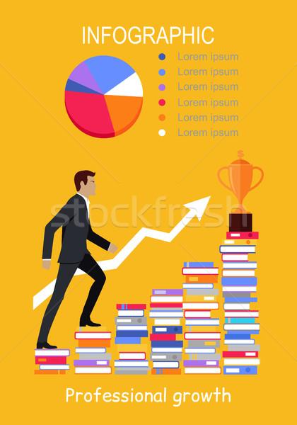 Mannelijke jonge zakenman naar boven boeken professionele Stockfoto © robuart