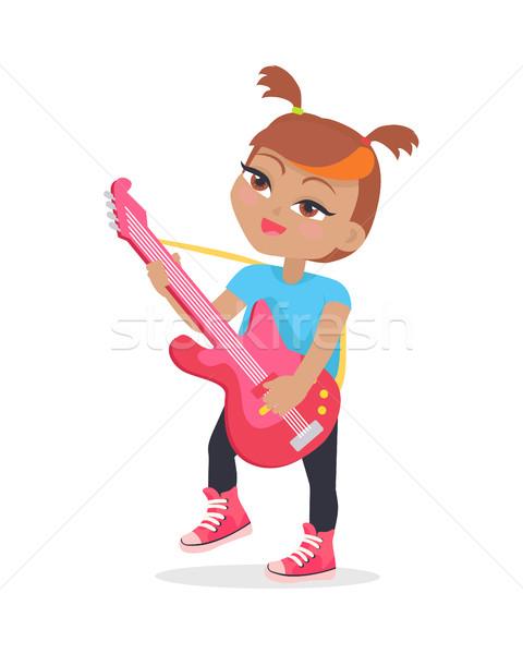 Menina jogar guitarra isolado branco músico Foto stock © robuart