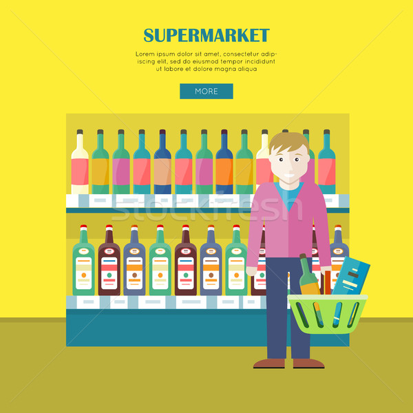 Supermarket Concept Web Banner in Flat Design. Stock photo © robuart