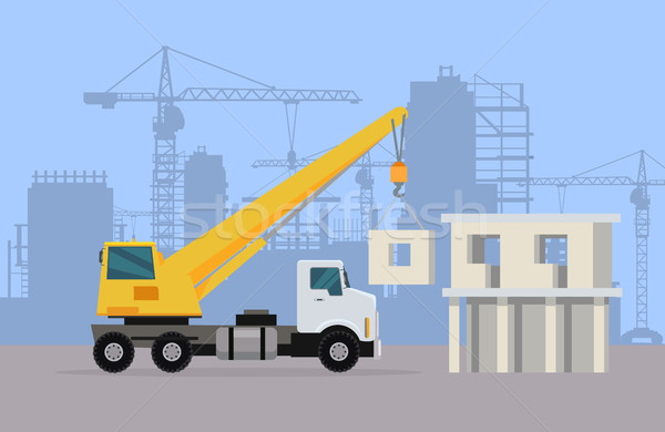Truck Crane on Background of Building Area. Vector Stock photo © robuart