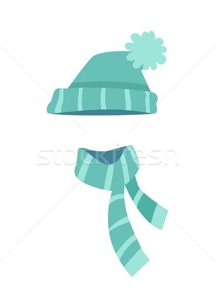 Kötött modern kalap sál csíkok vektor Stock fotó © robuart