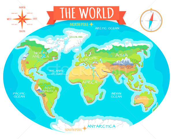 Continents, Oceans on Map of World. Our Planet. Stock photo © robuart