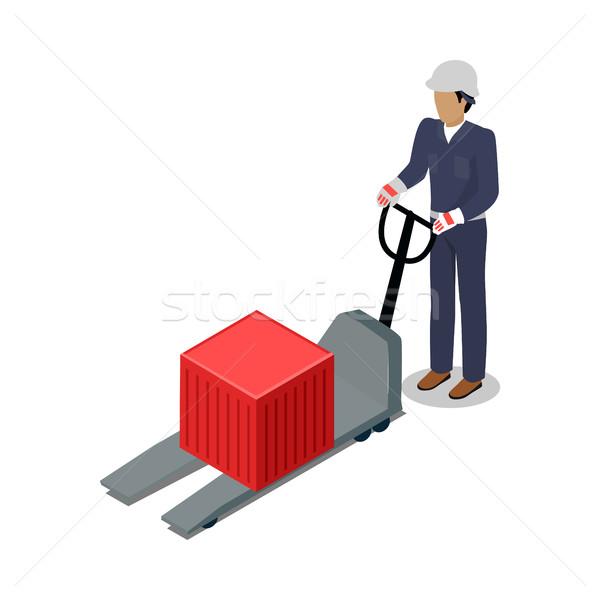 倉庫 ワーカー コンテナ フォークリフト 電気 ドック ストックフォト © robuart
