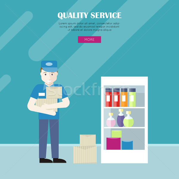 Quality Service in Grocery Shop Vector Web Banner. Stock photo © robuart