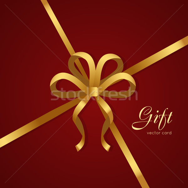 Ajándék arany keskeny szalag íj négy Stock fotó © robuart