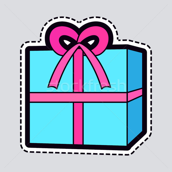 Gift Box. Blue New Year Present with Pink Ribbon Stock photo © robuart