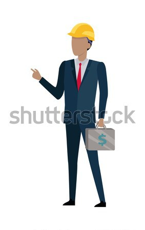 Man in Black Suit and Yellow Helmet. Bag of Money Stock photo © robuart