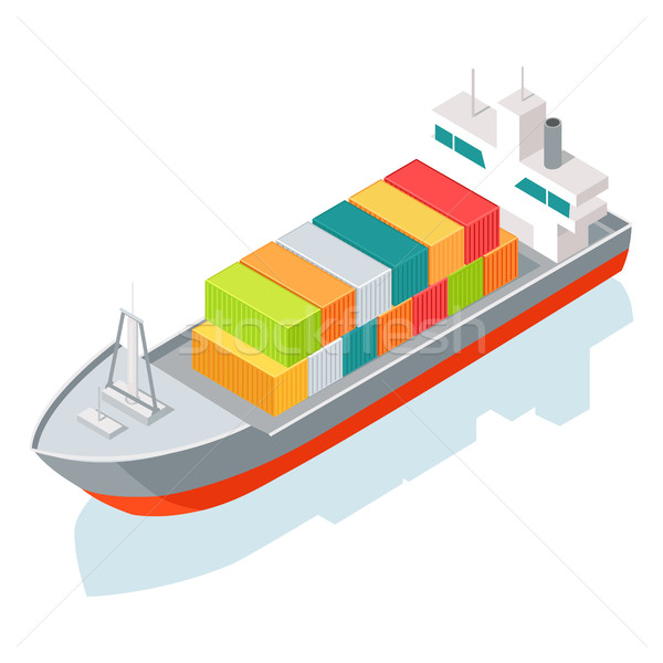 Cargo Ship or Container Isolated on White. Vector Stock photo © robuart