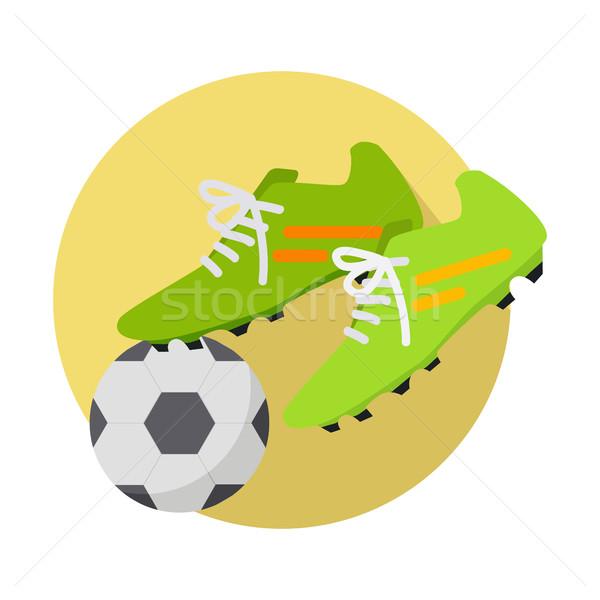 ストックフォト: サッカーボール · ブーツ · サッカー · アイコン · 緑 · 黄色