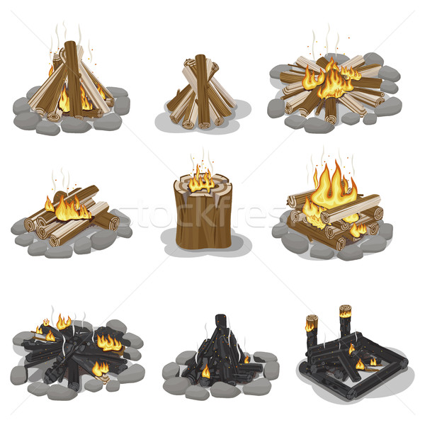 Burning Campfire Logs Collection Isolated on White Stock photo © robuart