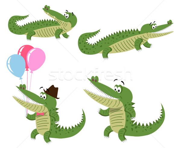 Barátságos rajz krokodilok illusztrációk szett aranyos Stock fotó © robuart