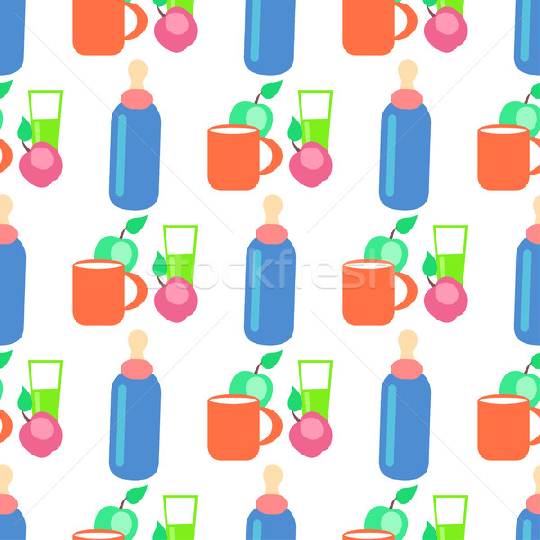 Baby Food Cartoon Vector Seamless Pattern Stock photo © robuart