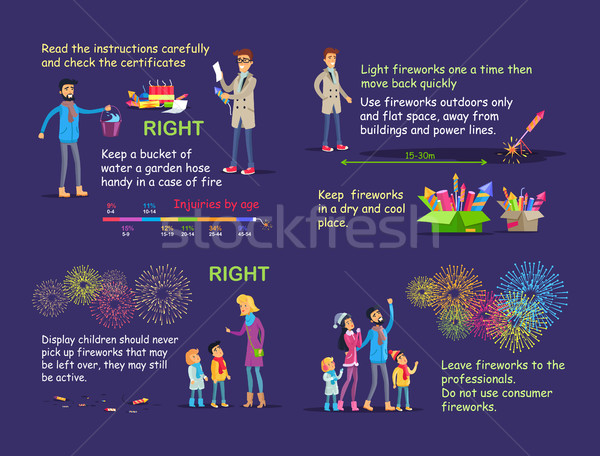 Picture Instruction for Right Firework Usage. Stock photo © robuart