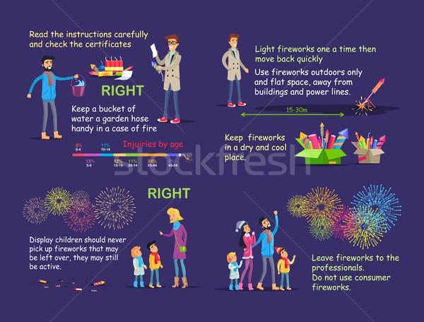 Foto fuegos artificiales vector fotos Foto stock © robuart
