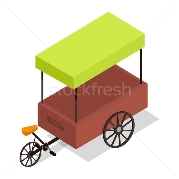 Pedal-powered Street Cart Store Isometric Vector Stock photo © robuart