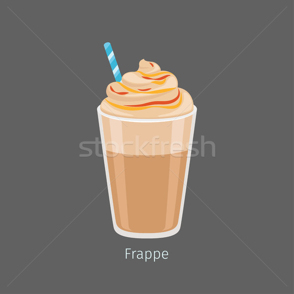 Stock photo: Glass of Chilled Frappe Coffee Drink Flat Vector