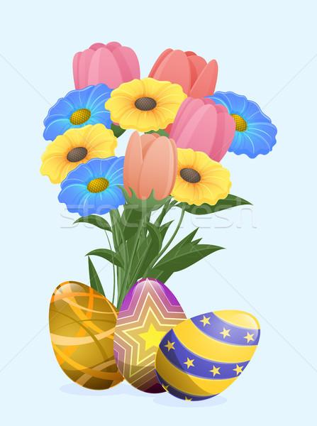 Mooie gekleurde eieren feestelijk lentebloemen boeket tulpen Stockfoto © robuart