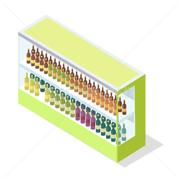 Stock photo: Wine in Groceries Showcase Isometric Vector