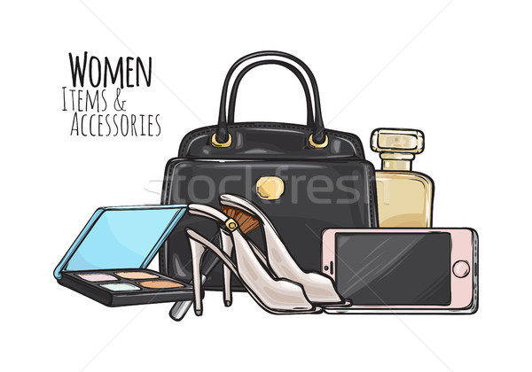Women Items and Accessories. Dark Female Objects Stock photo © robuart
