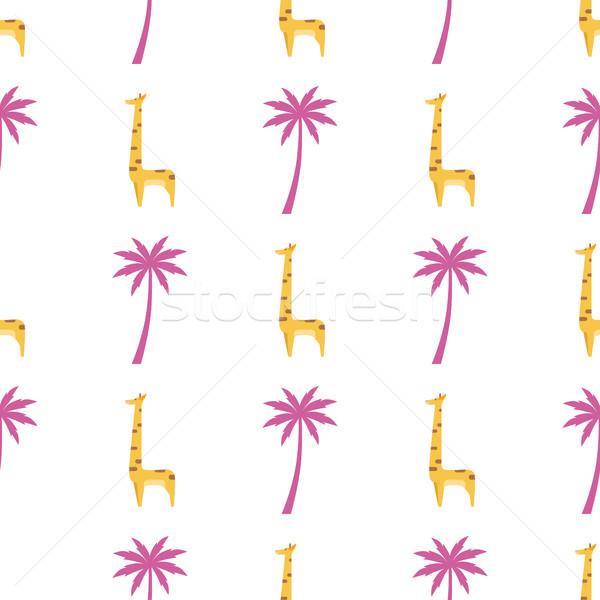 Stock fotó: Grafikus · zsiráf · izolált · végtelen · minta · vektor · rajz