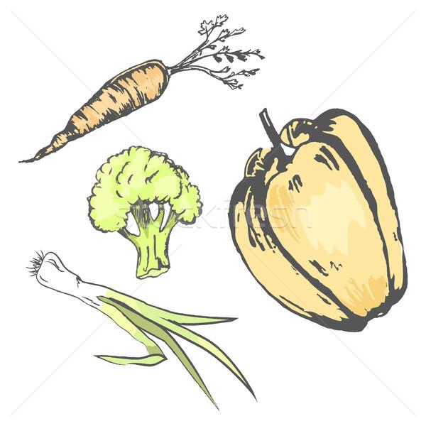 Foto stock: Caótico · hortalizas · cosecha · aislado · blanco · vector
