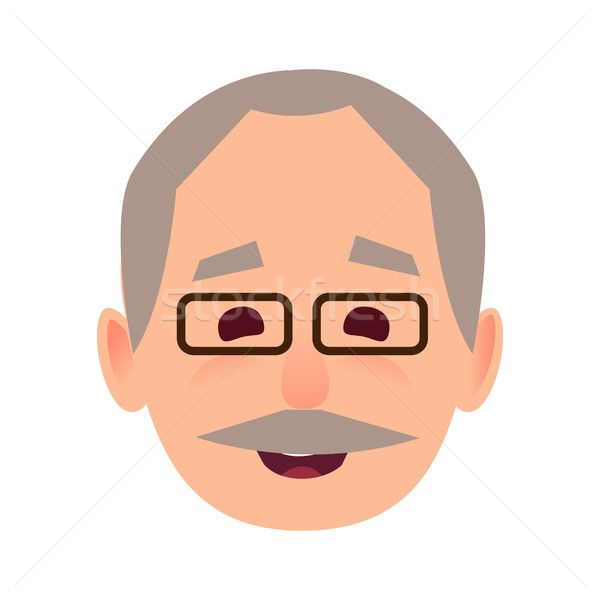 Smiling Old Man in Glasses Face Flat Vector Icon Stock photo © robuart