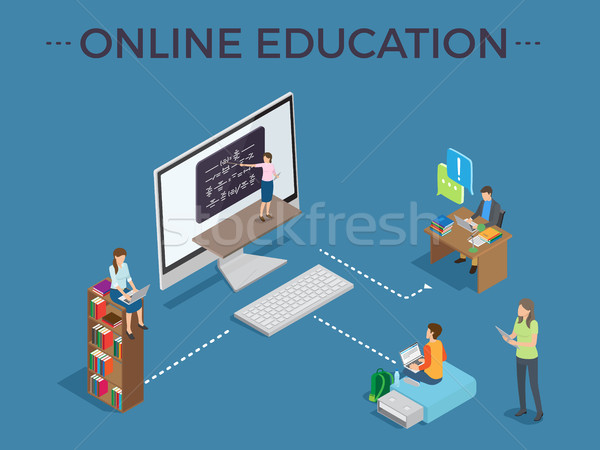 Online Education Process Template Vector Poster Stock photo © robuart
