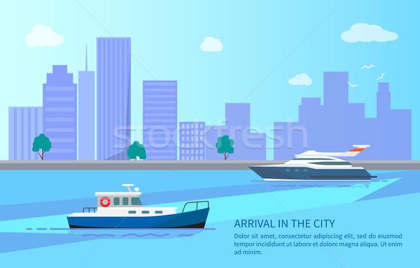 Aankomst stad reis jacht motorboot zee Stockfoto © robuart