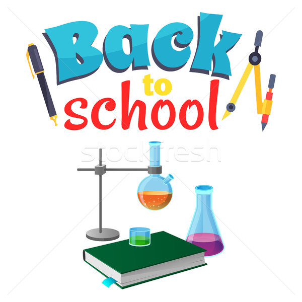 Back to School Sticker with Laboratory Equipment Stock photo © robuart