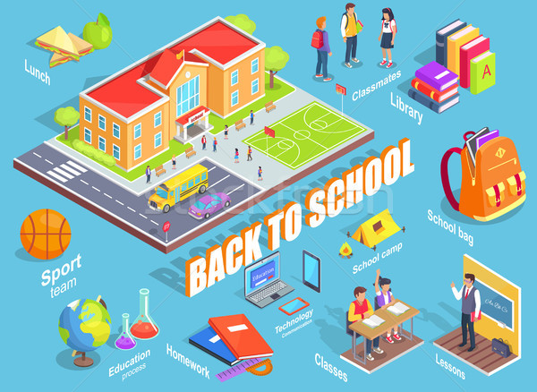 Volver a la escuela ilustración objetos 3D azul claro Foto stock © robuart