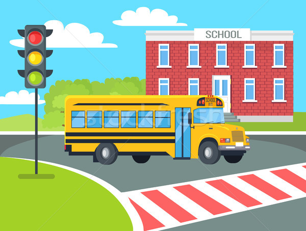 Bus Stops Before Pedestrian near School Building Stock photo © robuart
