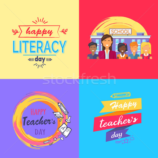 Happy Teacher s Day Collection of Colorful Posters Stock photo © robuart