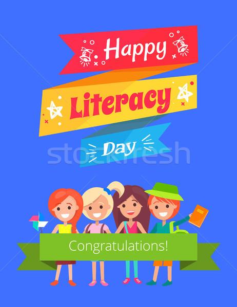 Heureux alphabétisation jour affiche félicitations Photo stock © robuart