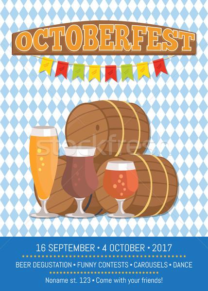 Oktoberfest affiche vecteur à carreaux fond Photo stock © robuart
