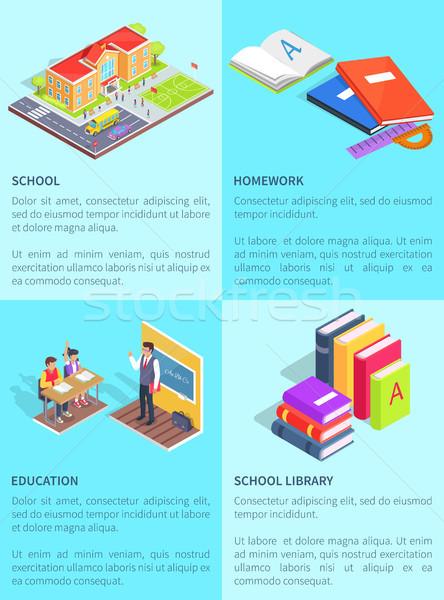 Establecer carteles escuela texto aislado educativo Foto stock © robuart