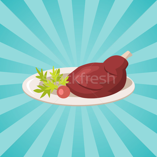 Plate with Meat and Vegetables Vector Illustration Stock photo © robuart