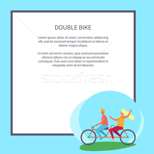 Double Bike Poster Depicting Excited Teenagers Stock photo © robuart