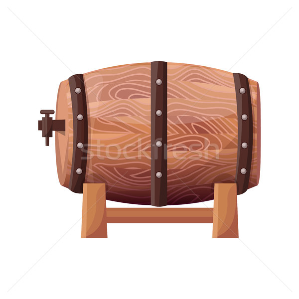 Wooden Brown Barrel on Vector Illustration White Stock photo © robuart