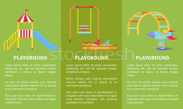 Playground Posters with Childrens Slide, Sandbox Stock photo © robuart