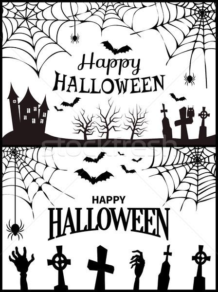 Boldog halloween kívánság poszter ijesztő kastély Stock fotó © robuart