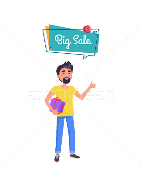 Man with Beard with Gift Box in Hands Holding Gift Stock photo © robuart