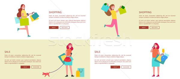 Stok fotoğraf: Dört · ayarlamak · alışveriş · kadın · çanta