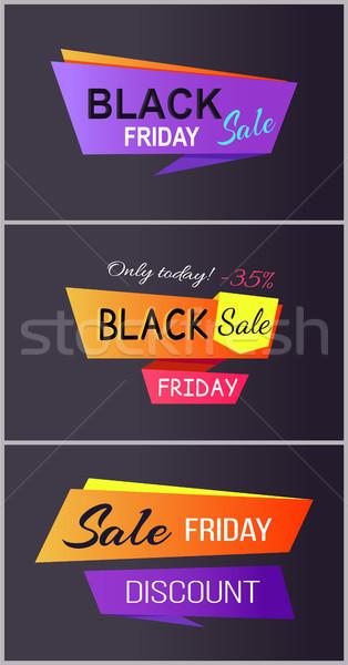 Black friday sprzedaży dzisiaj zniżka zestaw plakaty Zdjęcia stock © robuart