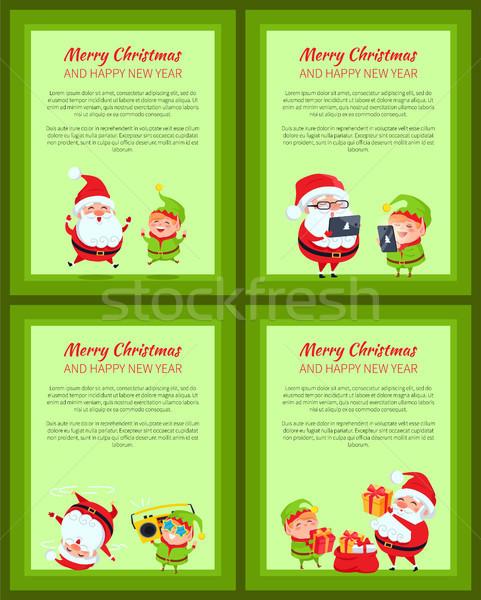 Conjunto quatro banners papai noel elfo Foto stock © robuart