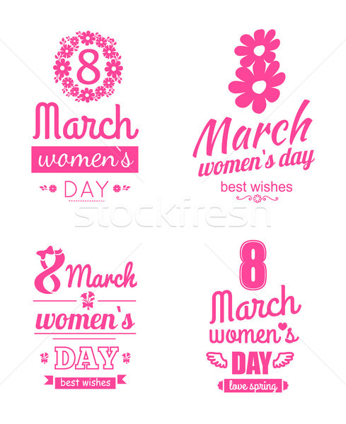 Set 8 March Greeting Cards International Women Day Stock photo © robuart