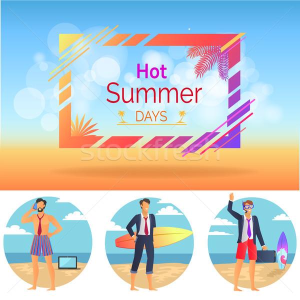 ホット 夏の日 セット ポスター ポスター 人 ストックフォト © robuart