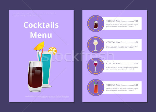 Cocktail Menu Advertisement Poster with Prices Stock photo © robuart