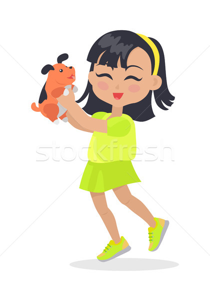 Smiling Girl with Black Bob Haircut and Dog Pet Stock photo © robuart