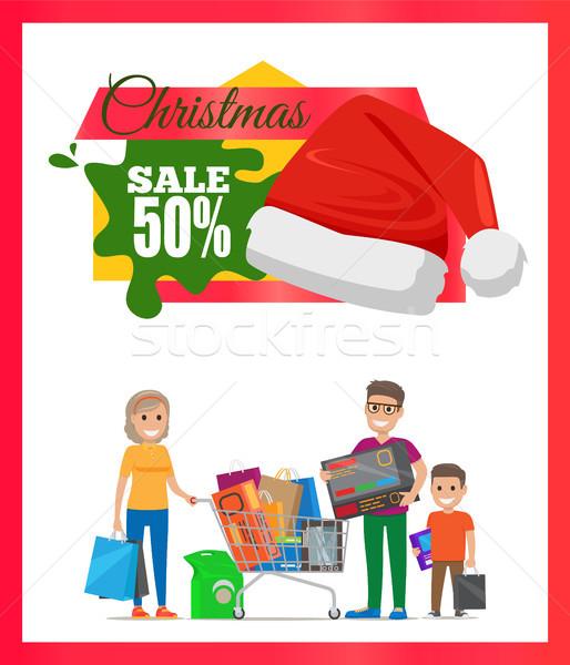 Stock photo: Half Price Christmas Sale Card Vector Illustration