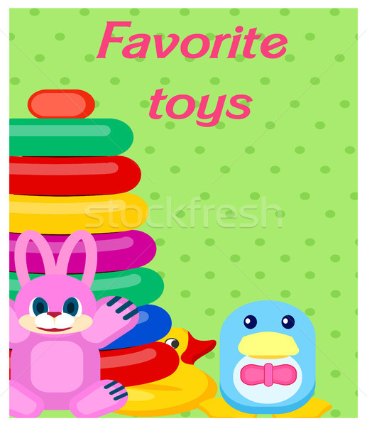 Favorite Plastic Toys Colorful Poster on Green Stock photo © robuart